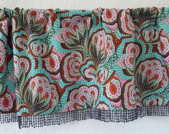 Kitchen valance in Amy Butler fabric called Hapi, with beaded trim