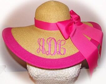 Monogrammed Natural Floppy Hat HOT PINK , Cup race, Beach, Foxfield,  Bride, Wedding, Honeymoon or Bridesmaids, Sun, Beach, Derby, Cup Race