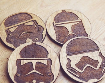 Storm Trooper Inspired Wooden Coasters