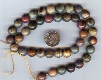 """10mm Rainbow Picasso aka Red Creek Jasper Gemstone Round Beads 8"""""""