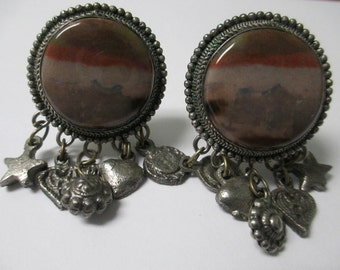 Vintage Jewelry Clip on earrings, stone inserted with 5 mini charms silver toned metal, not Signed
