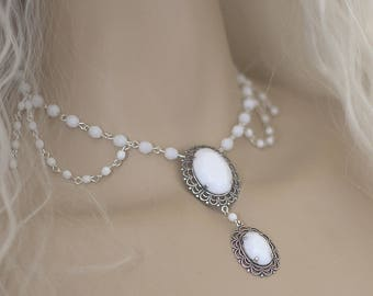 Wedding Necklace - Crystal Victorian Barocco - white and silver