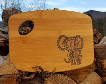 Bohemian Elephant Woodburned Cutting Board