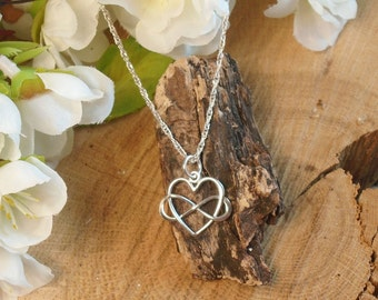 Sterling Infinity Heart Necklace, Love Forever Bereavement Necklace, Memorial Necklace, Miscarriage, Remembrance Necklace