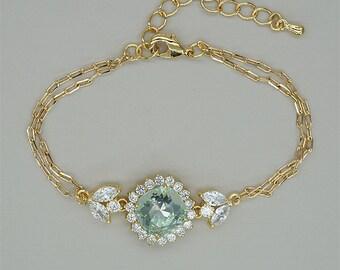 Mint Green Bracelets, Light Green Bracelets, Gold Bridesmaids Bracelet, Swarovski Crystal Wedding Jewelry, Mother of Brides Bracelet
