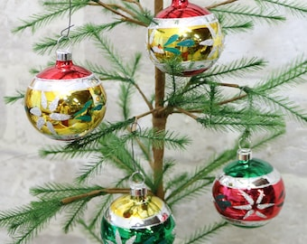 4 Roundt Christmas tree ornaments  Mercury glass balls, approx. 2 inch across