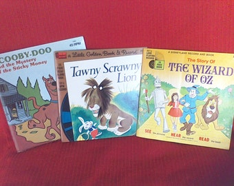 Little Golden Book and Record, Scrawny Lion, Scooby Doo,The Wizard of Oz , Disney Land Vista Records, made in the USA