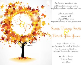 Fall Leaves Wedding Invitation package