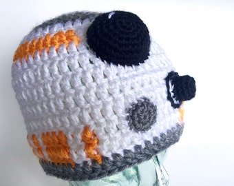 Space Droid II beanie, handmade crochet || Child, Adult, XL Adult || Ready to Ship
