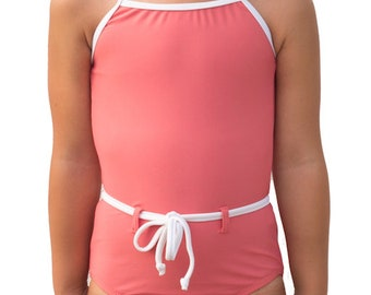 Girls one piece swimsuit with belt