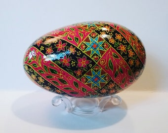 Flowers and vines spiral intricate goose pysanka