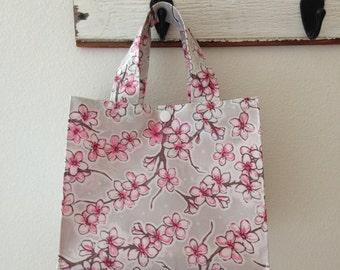 Beth's Grey Apple Blossom Oilcloth Lunch Box