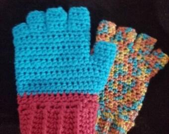 Open fingers mittens, crochet mittens, handmade fingerless mittens
