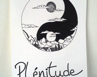"Poster Illustration black and white ""yin and yang fullness"""