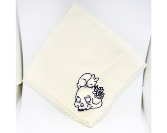 Handmade Embroidery - Handkerchief - Skull and Bunny with Flower