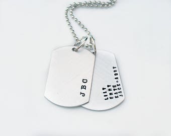 Mens Personalized Dog Tag Necklace - Husband Gift - Boyfriend Gift - Stamped Mens Necklace - Gift for Dad - Custom Dog Tags