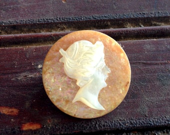 Mother of Pearl Cameo Pin | 1920s Era