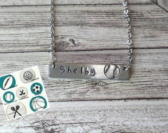Softball Necklace, Team Jewelry, Coach Gift, Custom Sport Necklace, Soccer Necklace, Field Hockey Necklace, Team Gift,Volleyball Jewelry