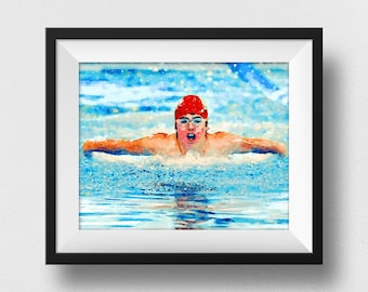 Swimming Pool Decor, Swimming Boy, Swimming Pool Print, Swimmer Art, Kids Wall, Home Decor, Swim Painting, Swimming Pool Art (N330)