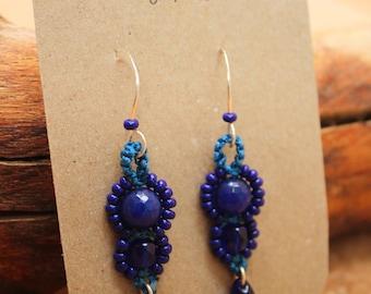 Macramé Beaded Deep Blue Earrings - Boho, Gipsy