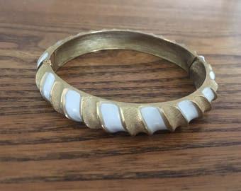 Crown Trifari Brushed Gold with White Enamel Striped Bangle 1100