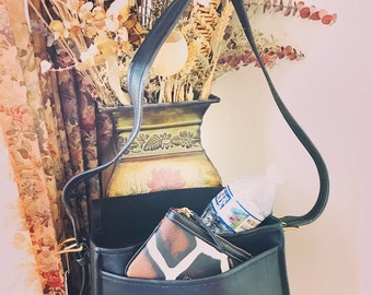 Vintage Coach Leather Saddle Bag // Coach Black Leather Handbag // Coach Messenger Bag Made In New York City # 7801