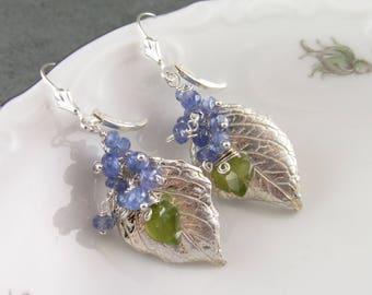 Silver hydrangea leaf earrings with tanzanite, handmade eco friendly fine silver jewelry-OOAK