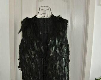 Black feather cape feather jacket feather shawl feather top black jacket burning man festival