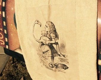 Alice in wonderland 100% cotton flour sack tea towel
