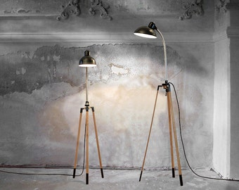 Tripod // lamp stand made from oak WITHOUT vintage clip lamp