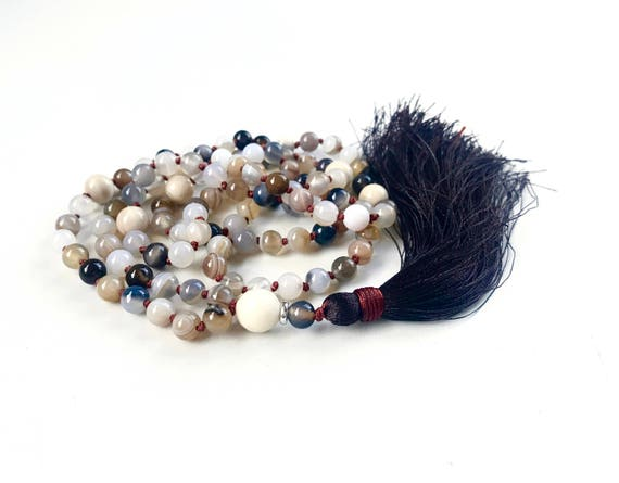 Mala For Healing The Emotions, Botswana Agate Mala Necklace, 108 Beads Hand Knotted, Mala For Meditation, Riverstone Mala Necklace