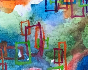 Original Fine Art - Abstract 6 x 8 Matted to fit 8 x 10 Frame - Watercolor - Multi-Media - Gouache - Ink - Collectible Fine Art