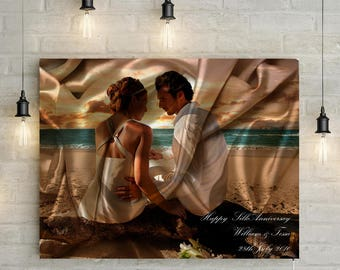 Silk/ 12th Wedding Anniversary Custom Couples Portrait - Photo to Canvas Art Print, Perfect Anniversary Gift!