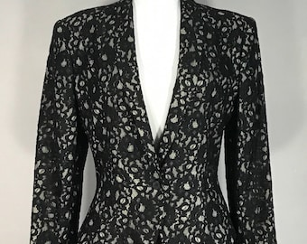 Vintage Evan Picone  Lace Suite,  60s Black Lace Women's  Suite, Two Piece Black and Taupe Suite, ILGWU made in USA