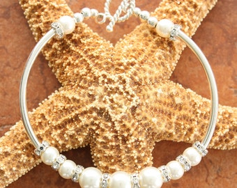 Spring  Sale Wedding  Sterling Silver Wedding Bridal Swarovski Pearl Bracelet