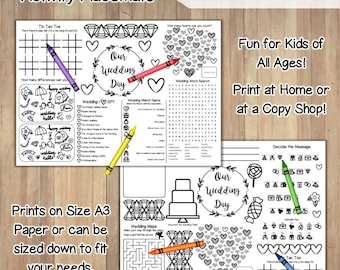Wedding Activity Place Mat / Printable Instant Download / Children's Place-Mat Wedding Coloring Pages Favors / DIY Reception Activities