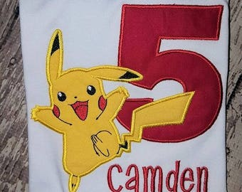 Boys Custom Pokemon Pikachu Birthday Shirt ~ Monogrammed, Applique, Embroidered, Many Sizes Available