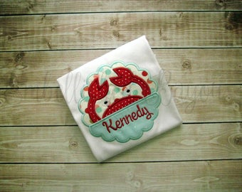 Peeking Crab with Name Applique T-shirt or Onesie Personalized for Girls or Boys