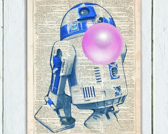 R2D2 STAR WARS Poster Art, Nerd Art, Nerd Poster, Bubble Gum Poster Print on Dictionary Paper, Art Print, Dictionary Art Print, Star Wars