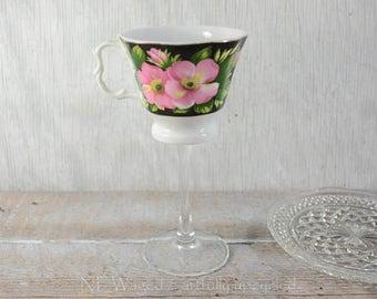 Tea cup wine glass, teacup wine glass, wedding wine glass, unique wine glass, cottage chic, repurposed, upcycled