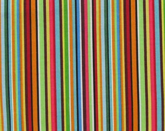 Gearheads Striped,100% Cotton Fabric by the Yard, Quilt Fabric, Apparel Fabric, Home Decor, Crafts, Multi Colored Stripes, Red, Orange, Blue