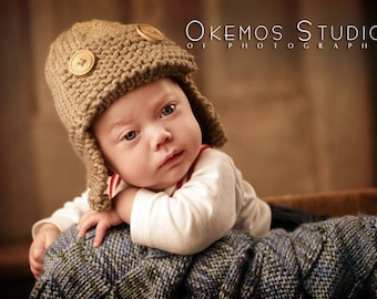 Hand Knit baby boy aviator hat with ear flaps