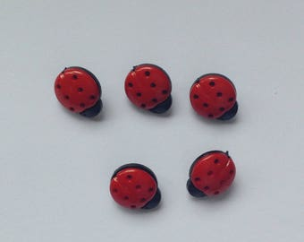 Red Ladybug 15mm Buttons