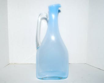 Vintage  blue glass pitcher  tall light blue blown glass art glass pitcher