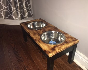 Raised dog feeder stand with scorched wood top, Dog bowl stand, Pet feeder, Rustic style