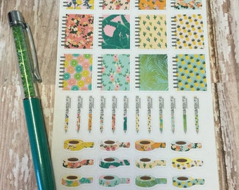 In The Tropics Happy Planner Inspired Planner Stickers with Matching Washi and Pens
