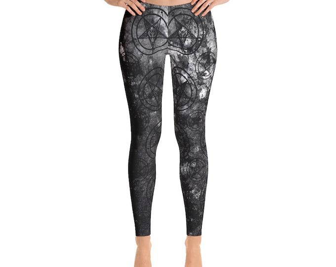 Grey Splatter Baphomet Leggings