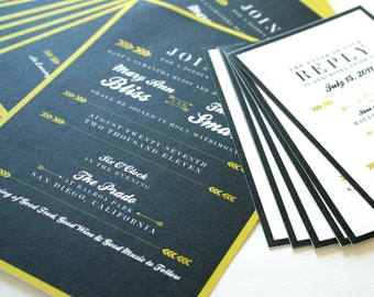 Struck Wedding Invitations on 100% Cotton - Charcoal & Mustard