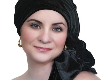 Turban Diva Black Velvet Turban Head Wrap Alopecia Chemo Head Scarf, Hat & Scarf Set