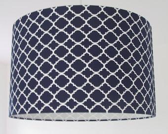 Handmade Quatrefoil Geometric Navy Blue Moroccan Tile Lampshade 20cm 25cm 30cm Lightshade